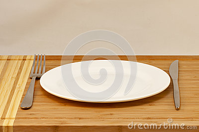Cutlery empty plate, table knife and fork