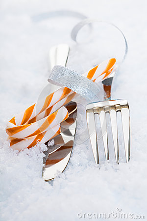 Cutlery with festive candy