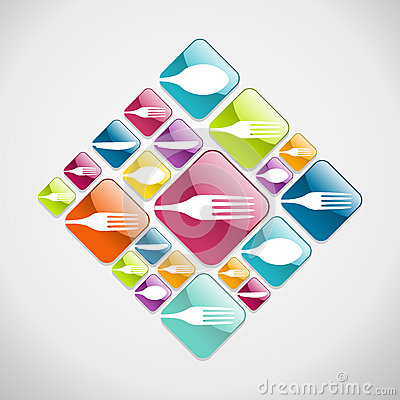 Cutlery glassy web icons background