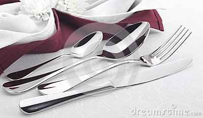 Cutlery with linen serviette