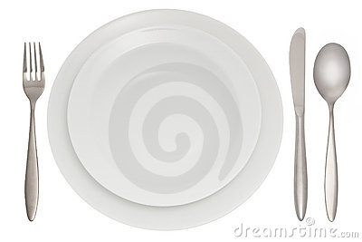 Cutlery with plate
