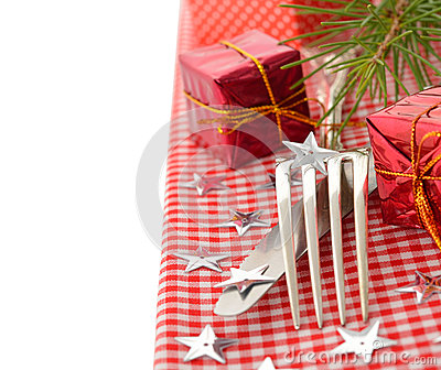 Cutlery and red napkin