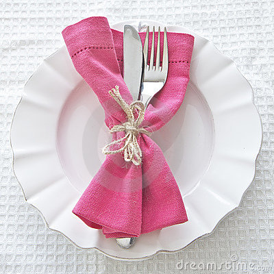 Cutlery  on white plate