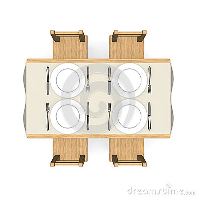 Cutlery on wooden dining table top view stock photo for Table vue de haut