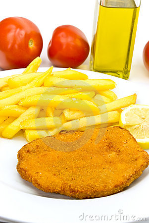 Cutlet,breaded-with french fries