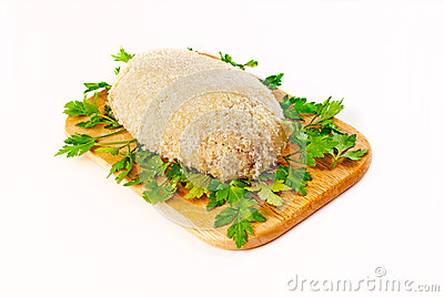 Cutlet breaded for roasting in an aero grill