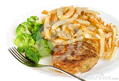 Cutlet with broccoli and potatoes