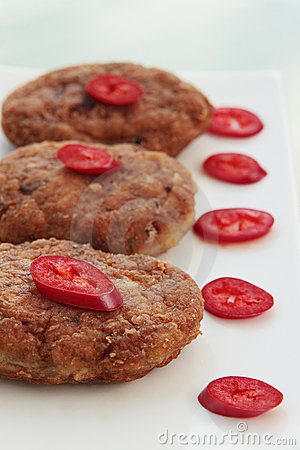 Cutlets with chilies