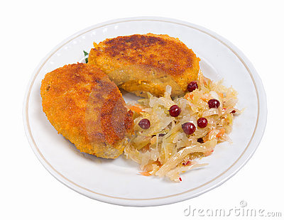 Cutlets in a plate with vegetables