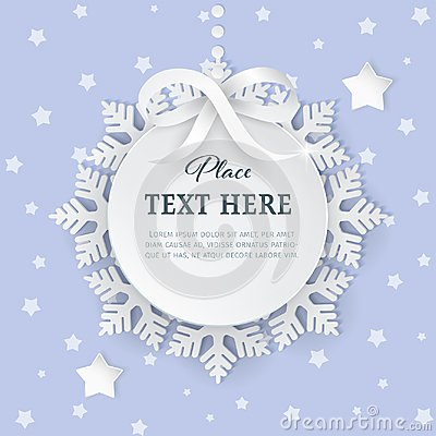 Free Cutout 3D Paper Circle Frame Label With Silver Satin Bow And Snowflakes On The Light Purple Background. Stock Photo - 105962010