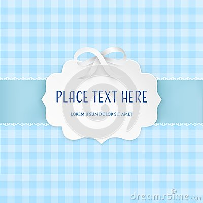 Free Cutout 3D Paper Figure Frame Label With Silver Satin Bow And Light Blue Ribbon On The Checkered Tile Seamless Pattern. Royalty Free Stock Photography - 105961957