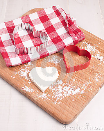 Cutout heart cookie from dough