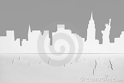 Cutout paper silhouette of New-York city, USA