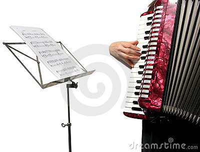 Cutout with a woman playing accordion