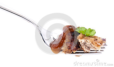 Cutted burger on fork (with clipping paths)