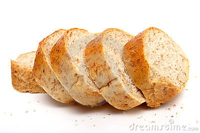 Cutted long loaf with bran