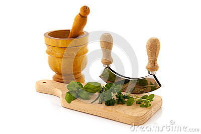 Cutting board with fresh herbs