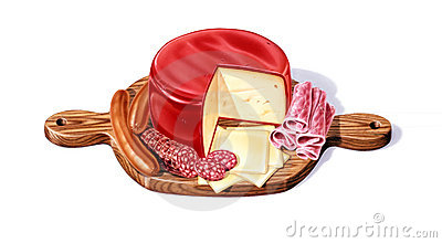 Cutting board with a selection of cheeses, salami