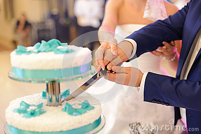 cutting cake together