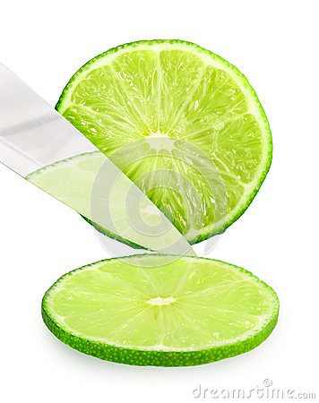 Cutting fresh green lime