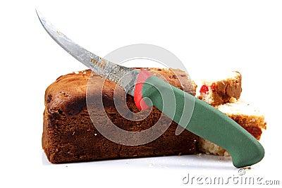Cutting fruit cake