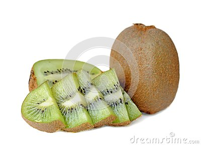 Cutting kiwi isolated