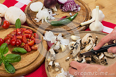 Cutting mushrooms and vegetables