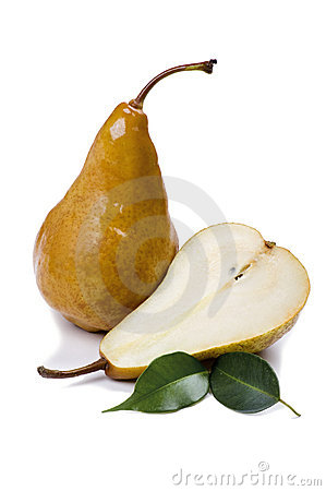 Cutting pear on white