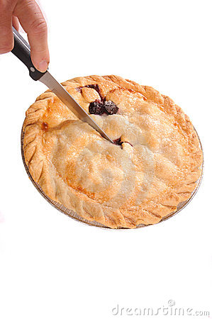 Cutting into pie