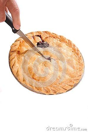 Cutting into pie