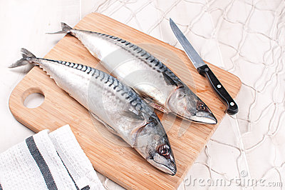 Cutting and preparing fresh mackerel fish