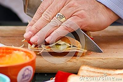 Cutting a sandwich