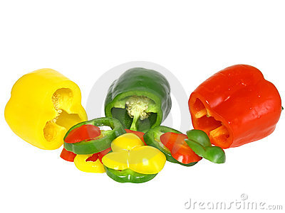 Cutting  sweet pepper on white . Isolated