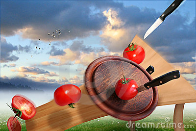 Cutting of tomatoes