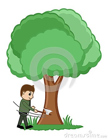 Cutting Tree - Vector Illustration