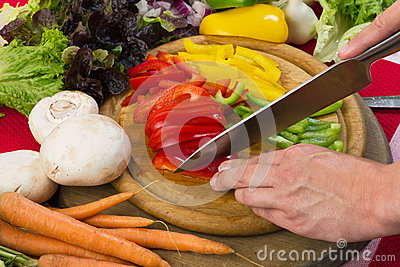 Cutting vegetables and pepper