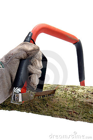 Cutting a Wood Log with a Hack Saw