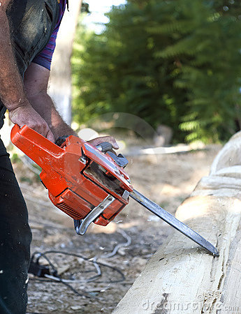 Cutting wood with motor saw