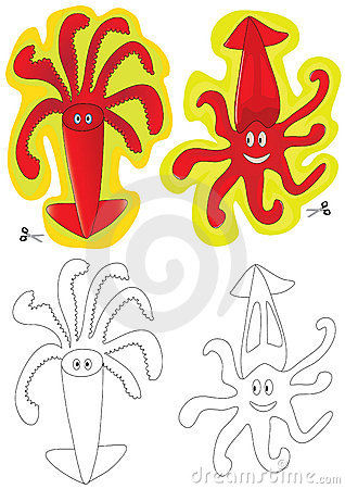 Cuttlefish 2 Sticker And Coloring_eps