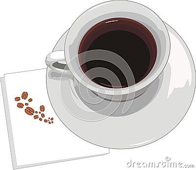 Cuvette avec du café sur la serviette