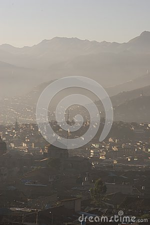 Cuzco on a misty morning