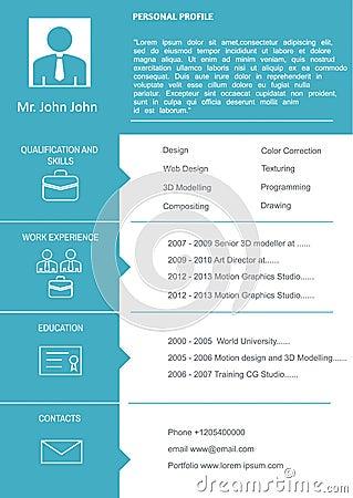 CV Curriculum Vitae Template Vector Illustration