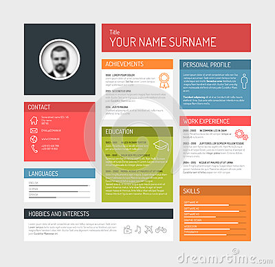 Free Cv / Resume Template Dashboard Stock Images - 51186354