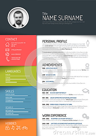 Cv Resume Template Stock Vector Image 50832935