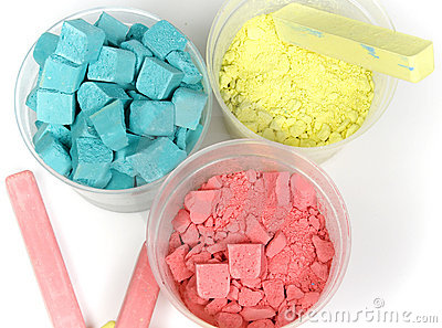 Cyan, magenta and yellow crushed chalk