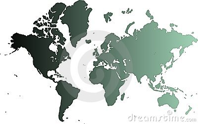 Cyan map of the world