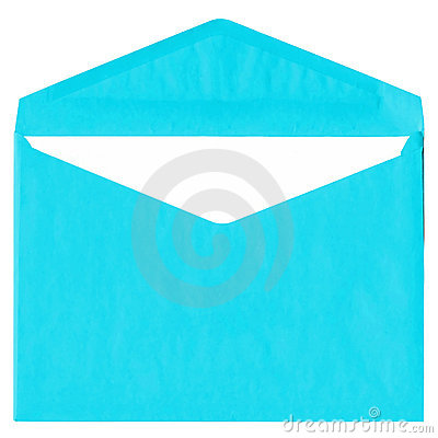 Cyan vintage envelope isolated on white