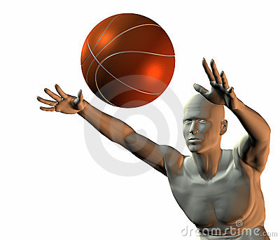 Cyber boy with basket ball