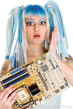 Cyber gothic girl holding mainboard in the hand.