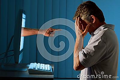 Cyber Internet Computer Bullying Man Stock Photos Image